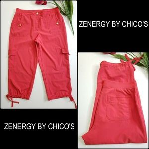 Zenergy By Chico's Woman Cargo Crop Pant Pink Sz 1